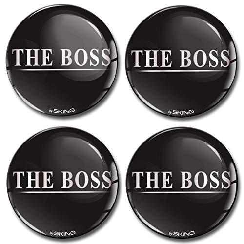 Skino 4 X 55mm Aufkleber 3d Gel Silikon Autoaufkleber Stickers The Boss Silber Felgenaufkleber Für Radkappen Nabenkappen Radnabendeckel Rad Aufkleber