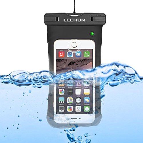 LEEHUR Custodia Impermeabile del PVC, Borsa Impermeabile del Telefono di Nuovo Tipo, Sacchetto Universale a Secco per il iPhone 6 6S Plus / 5 / 5s / 5c Galaxy S7 / S7 Edge / S6 / S5 / S4 Note3 / 4 LG  con LED 1 PACK