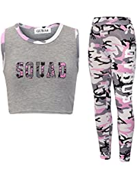 GUBA/® New Girls Rainbow Leopard Camouflage Printed Crop TOP /& Legging 2PS Set Fashion Outfits 7-13