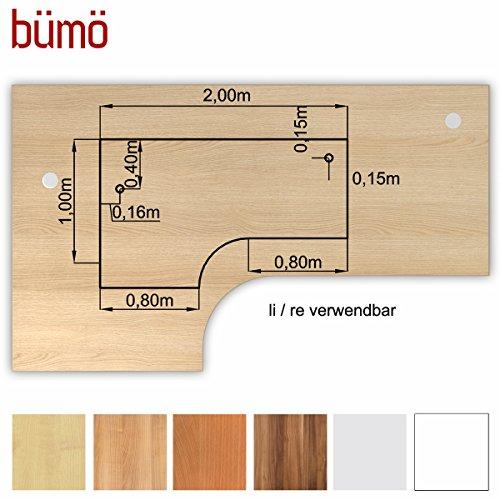 Bümö® stabile Tischplatte 2,5 cm stark - DIY Schreibtischplatte aus Holz | Bürotischplatte belastbar mit 120 kg | Spanholzplatte in vielen Formen & Dekoren| Platte für Büro, Tisch & mehr (Eckform: 200 x 120 cm, Eiche) (Eiche Büro-tisch)