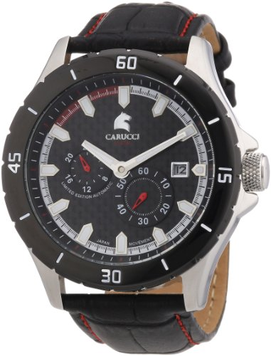 Carucci Watches Men's Automatic Watch CA2187RD with Leather Strap