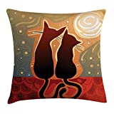 DHNKW Animal Throw Pillow Cushion Cover, Female and Male Cats in Love Watching Moon Luna on Stary Sky Print, Decorative Square Accent Pillow Case, 18 X 18 Inches, Pale Orange Pale Sage Green