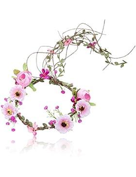 Blumen Kronen Stirnband Blumen Kopfstück - AWAYTR Frauen Mädchen Böhmen Verstellbare Baum Rattan Blatt Blume Girlande...