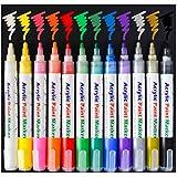 Acryl-Marker/-Stifte von Sayeec, Set aus 12 Permanent-Markern in verschiedenen Farben für Glasmalerei, Keramik, Porzellan, Stein, Holz, Stoff, Leinwand, beste Wahl für individuell gestaltete Tassen