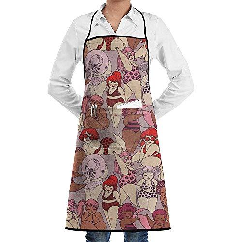 NotApplicable Koch Schürze Karikatur-Bikini-Schönheits-Schutzblech-Küchen-Garten-Großes Geschenk, Das Das Grillen Der Frau Der Frauen Männer Frau-Mann-Freund Kocht