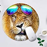 GODTOOK Alfombrilla de Ratón Mousepad Cojines de Ratón Redondos para Computadoras Laptop Antideslizante Juego de Goma Alfombrilla de Ratón - Sunglass de dólar león