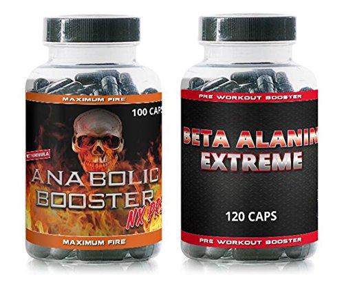 Anabolic Booster Nx Pro + Beta Alanin Extreme VargPower 220 Kapseln | Testosteron Pre Workout Booster Hochdosiert | Für Bodybuilder Männer | Hohe Qualität | Marken Nahrungsergänzungsmittel