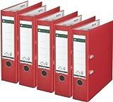 5er Sparpack Leitz 1010 Qualitäts-Ordner Plastik breit, mit patentierter 180º-Präzisionsmechanik (rot)