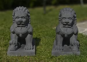 d co zen feng shui lions chinois de jardin gris anthracite int rieur ext rieur. Black Bedroom Furniture Sets. Home Design Ideas