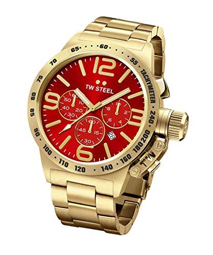 TW Steel Canteen reloj infantil de cuarzo con Unisex rojo esfera cronográfica y plateado Rosa correa Color Dorado CB114