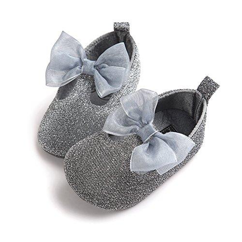 Chaussures à chaussures confortables pour bébés tout-petits Chaussures douces et antidérapantes pour le glitter avec Bowknot pour 0-18 mois Filles Printemps été Automne Wearing (Rose, M) argent