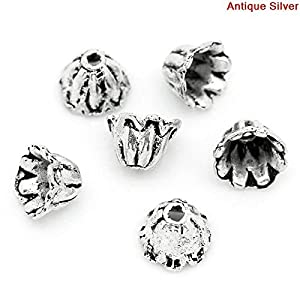 10 Stück Endkappen Blumen Antik Silber, für 8-12mm Perlen, 7×5 mm