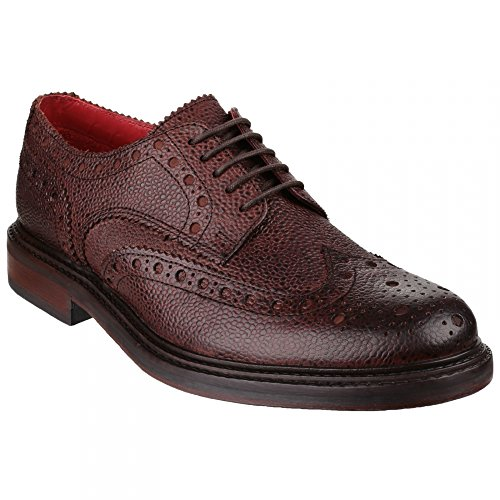 Base London Mens Faraday Leather Casual Everyday Lace Up Shoes Marrone (marrone)