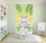 Bilderdepot24 Selbstklebende Fototapete - Kinderbild - Hippo Cartoon - Pastell - 200x300 cm - Poster – Dekoration – Wandbild – Wandposter – Wand - Wanddeko