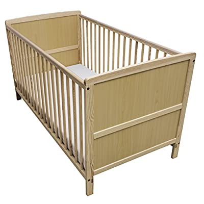 Kinder Valley Solid Pine Wood 2-in-1 Junior Cot Bed, Natural, 144 x 76 x 80 cm  Fence
