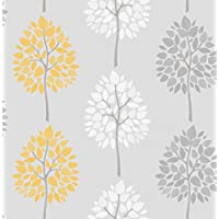 BHF FD41594 Riva Tree Wallpaper - Grey/Yellow (2-Piece)