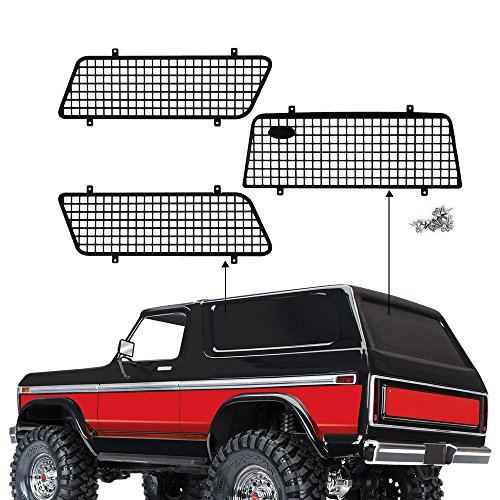 INJORA RC Fenster Netz RC Fenster Mesh Metall Fenstergitter Fenster Schutznetz mit Logo für 1/10 RC Rock Car Traxxas TRX4 Ford Bronco 82046-4