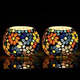 The Purple Tree Moroccan Glass Mosaic Tealight Candle Holder (Pack of 2) Mosaic Candle Holder, Diwali Candle Holder, tealight Holder, Diwali Gift, Best Gift for Diwali, Diwali Decoration T25
