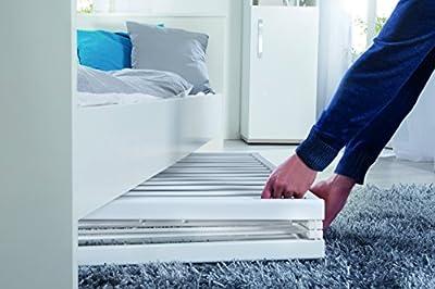 Cuna roba plegable 'Fold Up', cuna de 60x120 cm, cuna de madera blanca, cuna ajustable en altura a 3 posiciones, ahorra espacio y esta provista de ruedas con frenos.