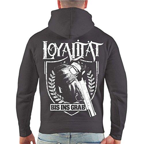 Männer und Herren Kapuzenpullover La Familia Loyalität (mit Rückendruck) Größe S - 8XL Grau