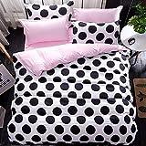 DIU Fashion 4er Bettwäschesätze/Bettgarnitur/Kinderbettwäsche/Bettwäsche Bettbezug Bettlaken Kissenbezug, Doppelvoll Queen Queen Bezug 200by230 Dot schwarz