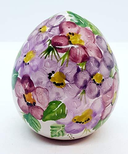 Uovo ceramica fiori di pesco handmade le ceramiche del castello idea pasqua idea bomboniera made in italy dimensioni h 10 x 7,5 centimetri