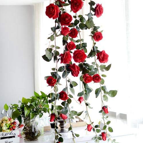 myonly Künstliche Rosenranken-Seiden-Girlande mit grünen Blättern für Hotel, Hochzeit, Zuhause,...