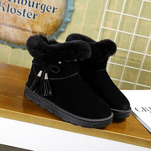 HSXZ Scarpe donna Nabuck Pelle di vacchetta scamosciata Autunno Inverno Comfort Snow Boots stivali tacco piatto rotondo Mid-Calf Toe stivali per Casual nero caffè Coffee