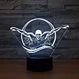 3D Illusione Ottica Led Lampada Di Illuminazione Luce Notturna, Stile Di Nuoto Lampada Da Tavolo 16 Colori Con Caricatore Usb Per Comodino Bambini Cameretta Casa Festa Decorazione HHANN