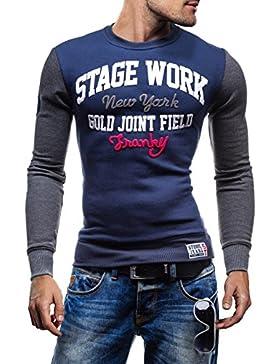 STEGOL Hombre Camiseta Con Cuello Redondo Manga Larga NS33