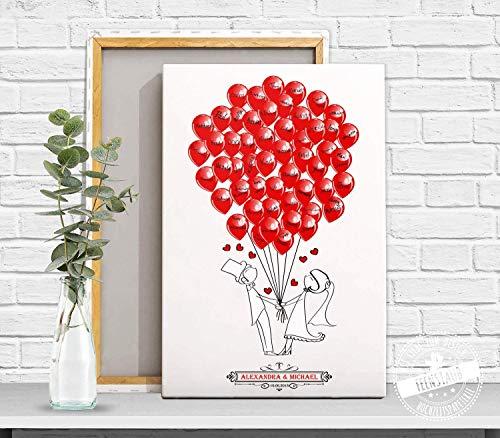 Wedding-Tree Comic Brautpaar mit Ballons für Unterschriften Hochzeits-Gäste, Gästebuch Hochzeit (Rot-spiel-matte)