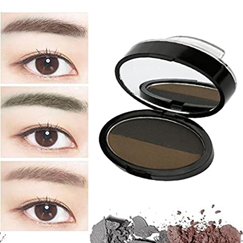 Xshuai New Waterproof Natural Eye Brow Stamp Powder Perfect Eyebrow Power Seal Nature Eye Brow Powder Delicate Shape for Beginners (Double-color Coffee