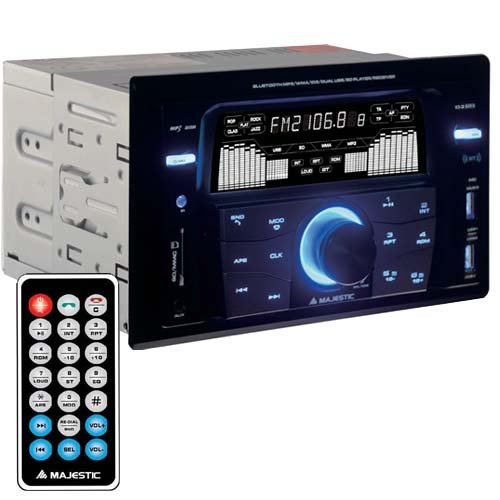 Majestic SV 515 RDS BT - Autoradio FM Bluetooth DOPPIO DIN, doppio USB, ingressi SD/AUX-IN, 180W (45W x 4ch), Nero
