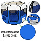 Portable 8 Panels Lightweight Soft Folding Pet Playpen Cage For Dog Cat Puppy Guinea Pig In 3 Colours & 2 Sizes Blue Pink & Green (Small (35 x 55cms),