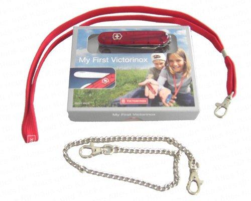 """Victorinox 10054 \""""My First Victorinox\"""" - Navaja suiza para niños (con filo serrado), color rojo transparente"""