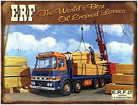 ERF The world's best oil engine lorries. G G Grant. Timber yard. Crane. Wood. Old retro. 50's 60's 70's. Ideal for house, home, shed or garage. Large Metal/Steel Wall