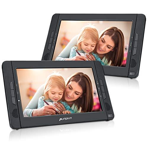 PUMPKIN Lecteur DVD Portable Voiture Double Ecran d'appuie-tête pour Enfant 10,1 Pouce (Un Lecteur DVD et Un Moniteur)Autonomie de 5 Heures supporte USB SD MMC avec Sangle de Fixation dans Voiture