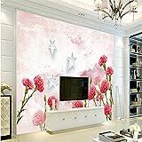 Wuyyii Benutzerdefinierte Kontakt Papier Romantische Blumenstrauß Blumen Wandbild Tapete Für WohnzimmerWandbild Restaurant Tv-280X200CM