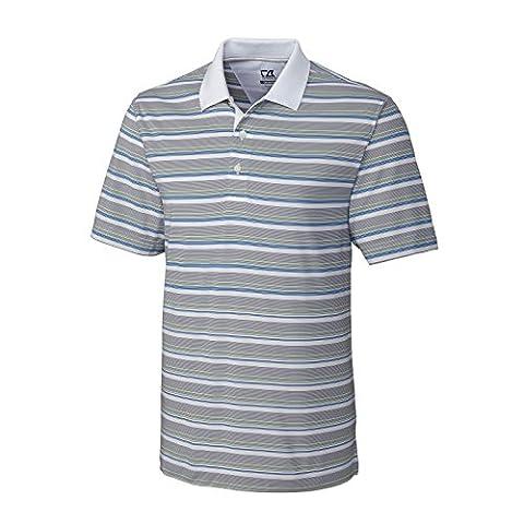 New 2015Cutter & Buck Herren Golf Polo Performance Tshirt kurze Ärmel Uni Streifen Top Dry Tech Feuchtigkeitstransport Sommer Tennis Sport Gym Casual Fashion Kleidung Fit Gr. S–XXL Gr. XL, White Hampton