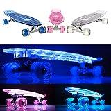 MAKANIH® LED Mini Cruiser Skateboard vintage mit Leuchtrollen,Kinder Penny Style Longboard beleuchtung LED Rollen - 1 Jahr Herstellergarantie - Night Ryder