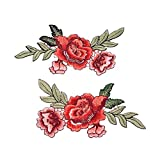 #8: Hexawata Red Water Soluble Rose Flowers Embroidered Sew Iron On Applique Patch Badge Cloth Sticker Decorations 2Pcs
