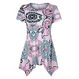 VEMOW Summer Mutter Geschenk Tag Damen Damen Kurzarm Swing Tunika Sommer Floral Flare T-Shirt Top Bluse Shirt Tees Shirt Kleid(Rosa, EU-40/CN-S)