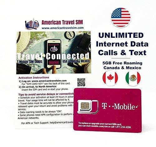 Prepaid-SIM-Karte - Unbegrenzte Internet-Daten USA, 5GB Roaming Kanada und Mexiko - Unbegrenzte Anrufe und Texte - Kanada Micro-sim-karte