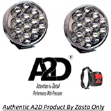 A2D 12 LED Aux Bike Fog Lamp Light Set of 2 White with Switch-Royal Enfield Bullet 350