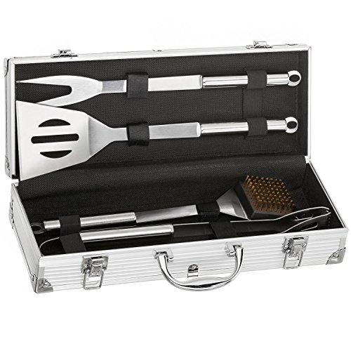 Edelstahl Profi Grillbesteck-Set 5-teilig im Aluminium-Koffer BBQ Grill-Utensilien Besteck Zubehör fürs Grillen
