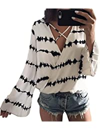 LEvifun Clearance Women Sexy Chiffon Blouse Lady Stripe V Neck Long Sleeve Layered Criss Cross Tops Shirt On Sale Plus Size