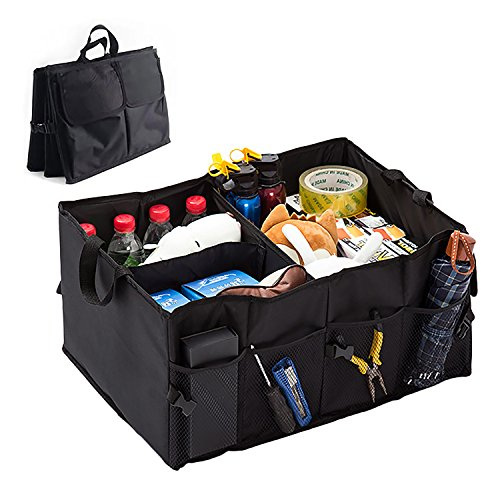 Kofferraum Organizer Autotasche,Centtechi 2-in-1 Kofferraumtasche faltbare Aufbewahrung Rücksitz Auto-Sitztasche mit stabilem Boden und Klettbefestigung Faltbox für Auto,SUV,Minivan,Truck & Anwendunge