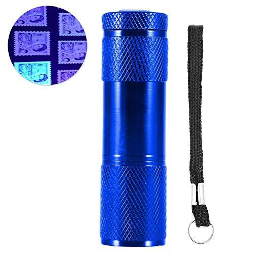 Koulate Led Linterna UV, 365-400nm, 4.5V, Aluminio, multifunción, batería, LED, luz de Mano para detección...