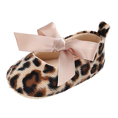 Scarpe da Morbido per Bambini e Ragazzi,Scarpine Primi Passi per Suo,YanHoo Toddler Cute Girl Shoes Cinture di Stampa Leopardo Neonato Antiscivolo Morbido (13, caffè)