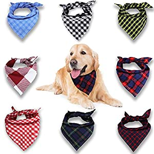 VIPITH-Dog-Bandana-8-Pack-Plaid-Bibs-Scarf-Washable-Reversible-Adjustable-Triangle-Dog-Scarf-Bow-Ties-for-Pets-and-Cats